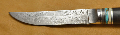 4.5 inch Kitchen Utility Knife with 'Lighthouse and Sailboats' Etching and African Blackwood Handle.