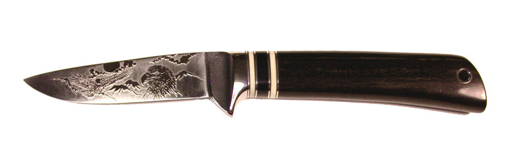 4 inch Dropped Point Hunter with 'Eagles' Etching - 2.