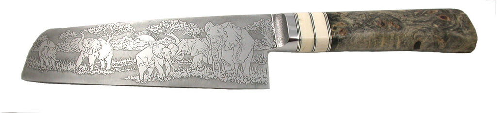 6 inch Chopper with 'Elephants' Etching.