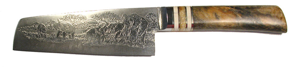 6 inch Chopper with 'Elephants' Etching and Buckeye Burl Handle - 2.