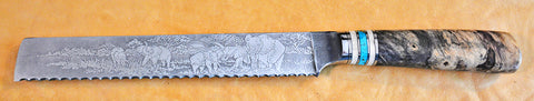 8 inch Bread Knife with 'Elephants' Etching.