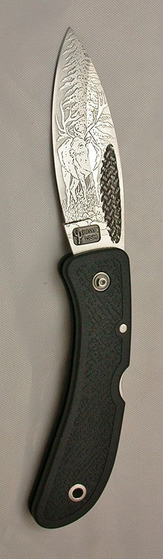 Boye Basketweave Lockback Folding Pocket Knife with 'Wapiti Elk' Etching.