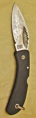 Boye Mountains Lockback Folding Pocket Knife with 'Wapiti Elk' Etching & 'Gonzalez 10'.