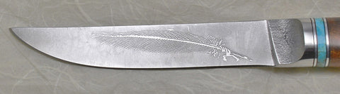 4.5 inch Kitchen Utility Knife with 'Feather' Etching and Desert Ironwood Handle.