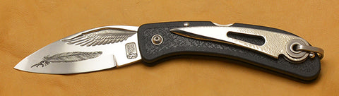 Boye Cobalt Wing Folding Pocket Knife with Laser Etched Feather, Black Handle, & Marlin Spike.
