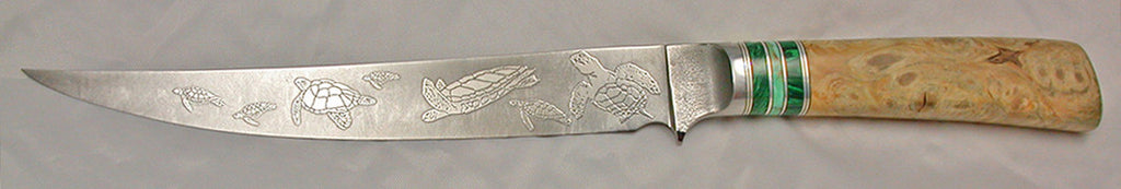 8 inch Filet Knife with 'Sea Turtles Etching - 2.