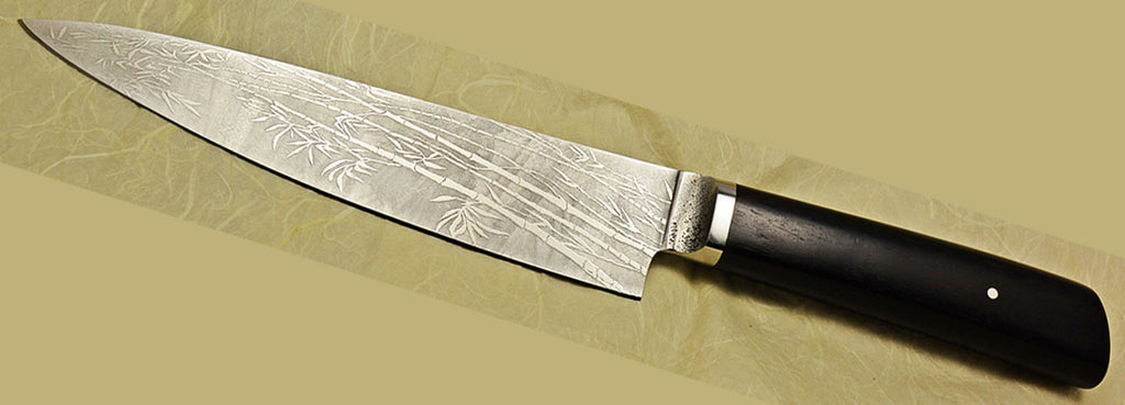 7.5 inch Chef's Knife with 'Filigree Bamboo' Etching, Boye-made.