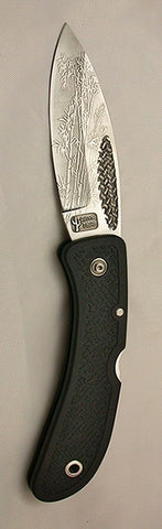 Boye Basketweave Lockback Folding Pocket Knife with 'Filigree Bamboo' Etching.