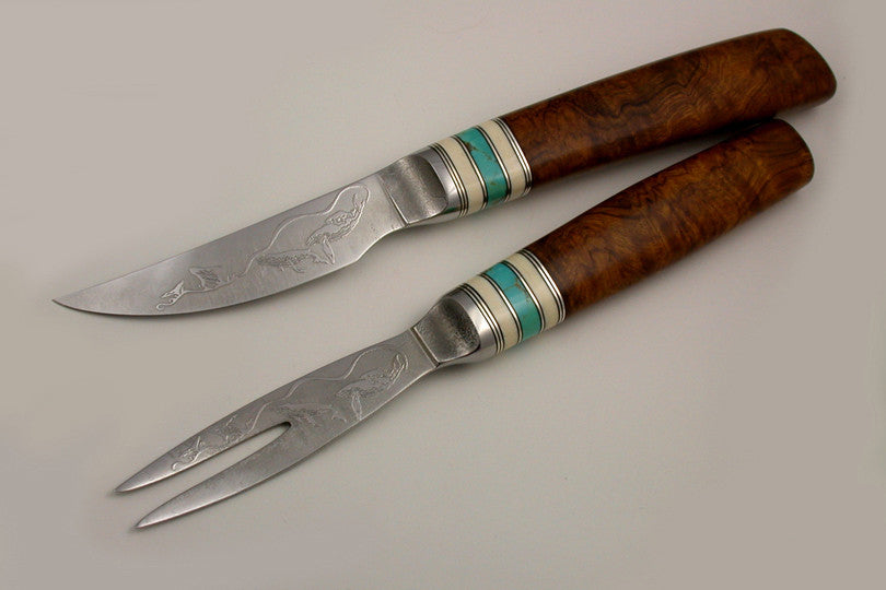 3.5 inch Table Knife and Fork set with 'Whales' Etching.
