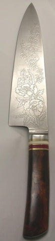 8 inch Chef's Knife with 'Wild Roses' Etching and 'Single Rose' on backside.