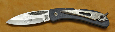 Boye Basketweave Lockback Folding Pocket Knife with 'Haida Fish' Etching, Blue Zytel Handle, & Marlin Spike - 2.