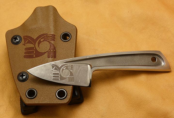 Boye Basic 1 with 'Hawk Rainbird' Etching and Kydex Sheath with Laser Etched Hawk Rainbird.