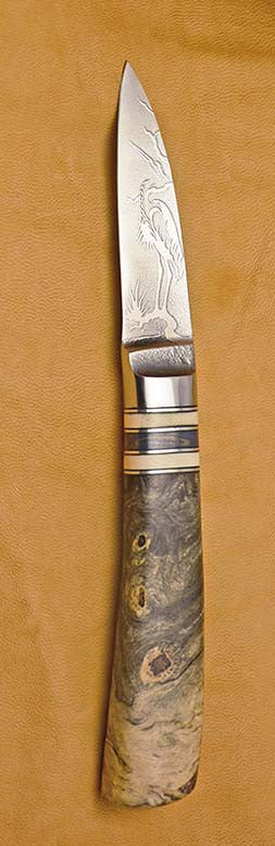 2.5 inch Persona Paring Knife with 'Heron' Etching and Buckeye Burl Handle~2.
