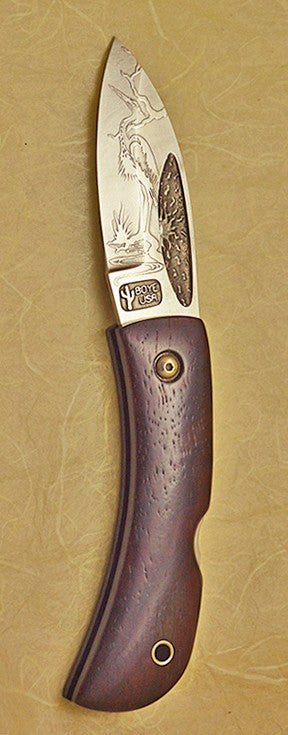 Boye Custom Small Sunburst Lockback Folding Pocket Knife with 'Heron' Etching.