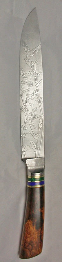 8 inch Carving/Slicing Knife with 'Hummingbirds' Etching.