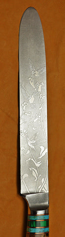 8 inch Cake Knife with 'Hummingbirds' Etching.