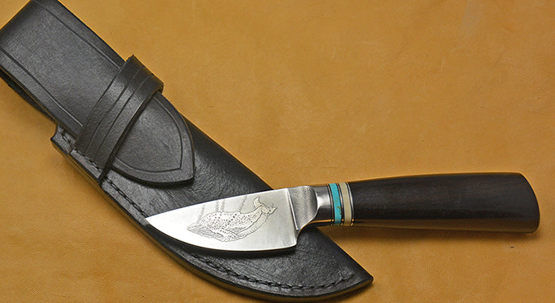 3 inch Dropped Edge Utility Knife with 'Humpback Whale' Etching & African Blackwood Handle.