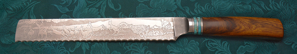 8 inch Bread Knife with 'Cheetahs with Impalas' Etching.