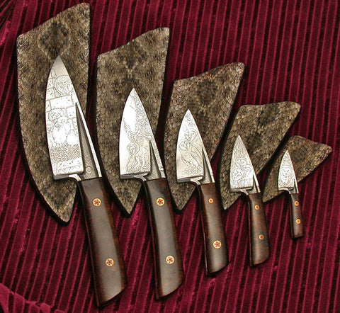 Barn Owl Project Knives with Sheaths II