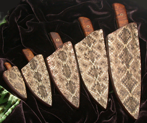 Barn Owl Project Knives in Rattlesnake Skin Sheaths