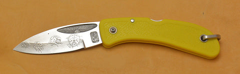 Boye Sunburst Lockback Folding Pocket Knife with 'Ladybugs' Etching and Yellow Handle.