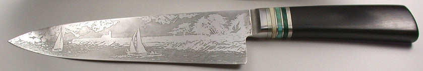 8 inch Chef's Knife with 'Lighthouse with Sailboats' Etching.