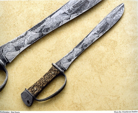 15 inch Damascus Bush Knife by Don Norris with 'Pride of Lions' Etching.
