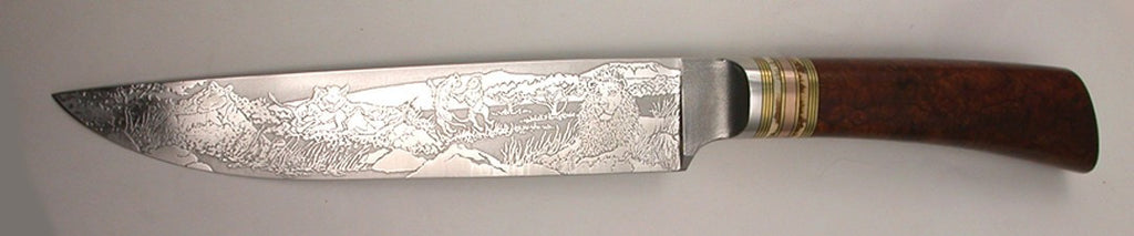 6.75 inch Carving/Slicing Knife with 'Pride of Lions' Etching.