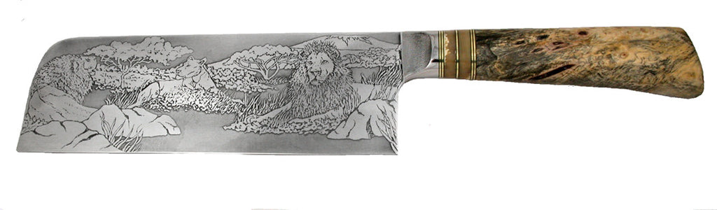8 inch Light Chopper with 'Pride of Lions' Etching.