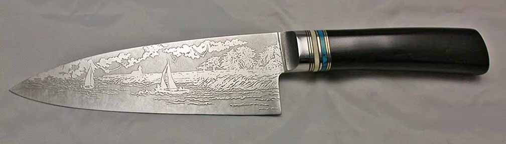 6 inch Chef's Knife with 'Lighthouse with Sailboats' Etching and African Blackwood Handle.