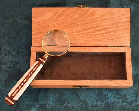Magnifying Glass with Custom Box and Scrimshaw Adornment.