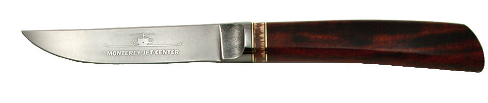 4 inch Steak Knife with 'Monterey Jet Center' Etching.