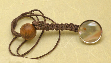 Brown Waxed Hemp Macrame Lanyard with Antique Mother of Pearl Set in Brass Button.