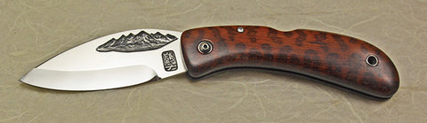 Boye Custom Cobalt Mountains Lockback Folding Pocket Knife with Snakewood Handle.