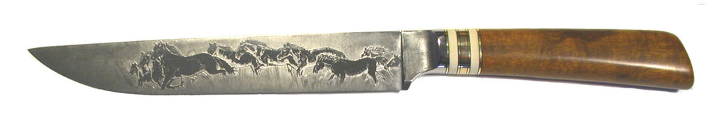 8 inch Carving Knife with 'Mustangs' Etching - 2.