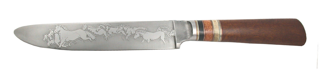 6.5 inch Sandwich Knife with 'Mustangs' Etching.