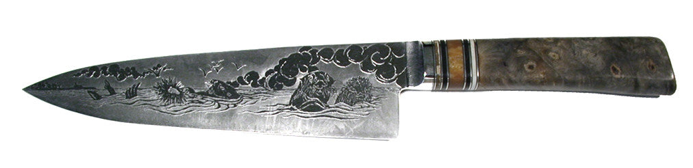 8 inch Chef's Knife with 'Sea Otters' Etching.