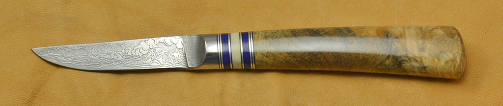 3 inch Paring Knife with 'Sea Otters' Etching with Buckeye Burl Handle.
