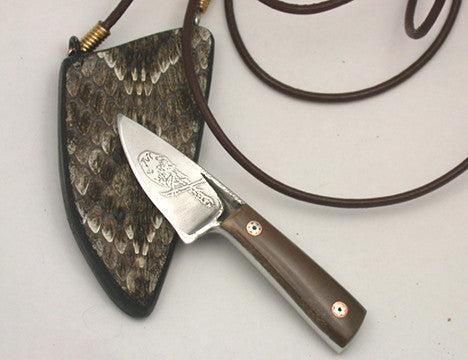 Boye Basic Photon with 'Seated Hawk' Etching, Blue Mammoth Handle & Rattlesnake Skin Neck Sheath.