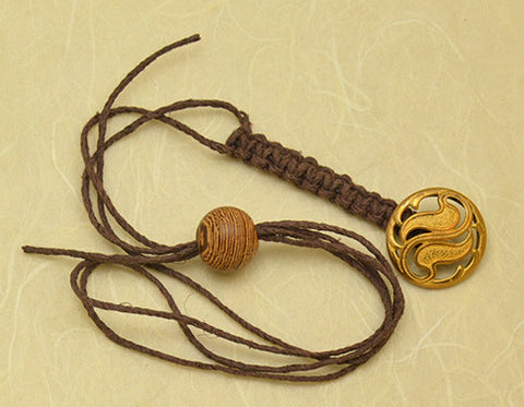 Brown Waxed Hemp Macrame Lanyard with Antique Pierced Brass Paisley Button.