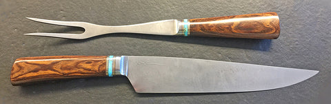 10 inch Carving Set with Plain Etched Blades & Desert Ironwood Handles.
