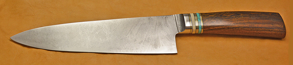 8 inch Chef's Knife with Plain Etched Blade and Desert Ironwood Handle.