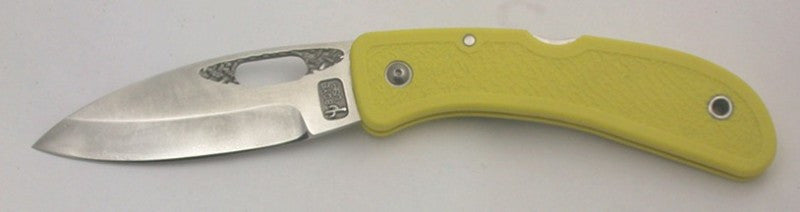 Boye Basketweave/Hole Lockback Folding Knife with Plain Etched Blade.
