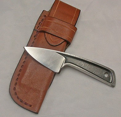Boye Sub-Basic with Plain Etched Blade and Leather Sheath.