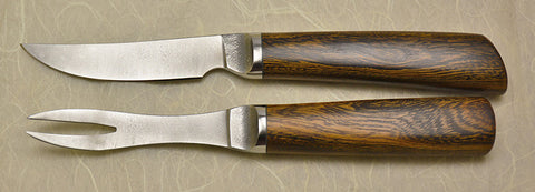 3.5 inch Table Knife and Fork Set with Plain Etched Blades and Desert Ironwood Handles.