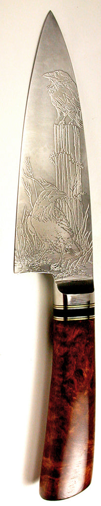 6 inch Chef's Knife with '2 Ravens' Etching.