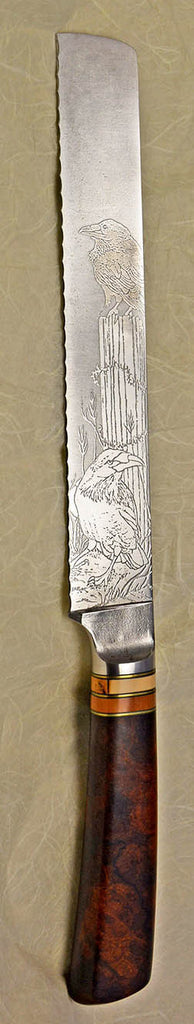 8 inch Bread Knife with 'Ravens' Etching.