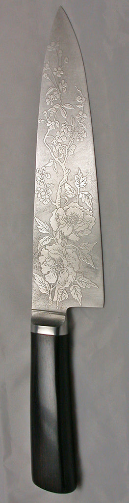 8 inch Chef's Knife with 'Wild Roses' Etching - 2.