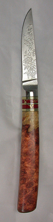 3 inch Paring Knife with 'Wild Roses' Etching - 2.