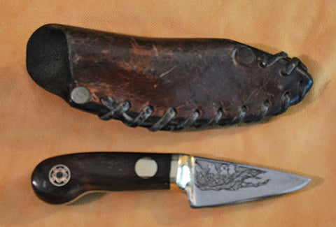 2 inch Sawblade Steel Knife with Custom Etchings of Truck & Birds in a Nest